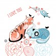 Love cats and fish - Stock Vector