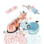 Adoro gatos e peixes — Vetorial Stock