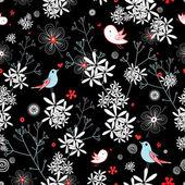 Motivo floreale con uccelli — Vettoriale Stock