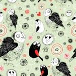 Texture of the fun owls — Stock Vector