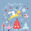 Christmas card with a deer and hare — Image vectorielle