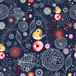 Seamless floral pattern with fish and birds — Stock Vector #8846590