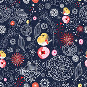 Seamless floral pattern with fish and birds — Stock Vector