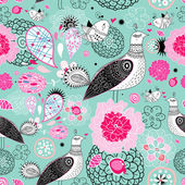 Flower texture with fantastic birds — Stock Vector