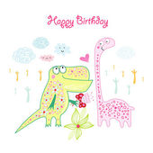 Greeting card with Dinosaurs — Stock Vector
