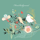 Floral background with a bird — Stock Vector