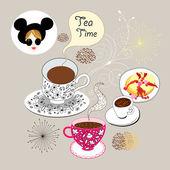 一杯茶与背景 — 图库矢量图片
