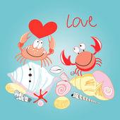 Crab in love — Stock Vector