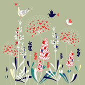 Floral background with birds — Stock Vector