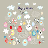 Easter card with eggs and bunnies — Stock Vector