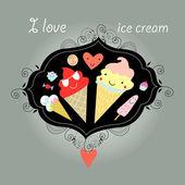 Background with ice cream — Stock Vector