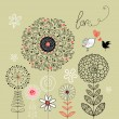Floral background with birds in love — Stock Vector #9936635