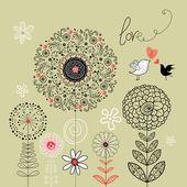 花卉背景与爱鸟 — 图库矢量图片