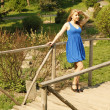 Beautiful girl in blue standing on the bridge in the park — Stock Photo #9484482