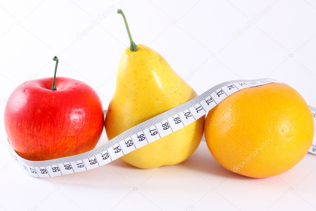 Fruits with measuring tape for diet, isolated on white — Stock Photo #9657048