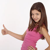 Teen beauty caucasian girl showing her thumbs up. Isolated on white. — Stock Photo