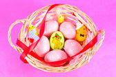 Easter basket filled with eggs and with chicken — Stock Photo