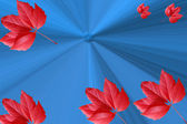 The abstract stylish blue background with red leaves — Stock Photo