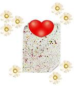 Une feuille de papier avec un coeur et les marguerites sur un motif blanc — Photo