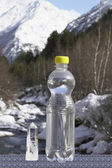 A bottle of pure water and crystal against snow top — Stock Photo
