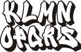 Vector graffiti font alphabet (part 2) — Stock Vector