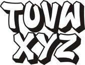 Vector graffiti font alphabet (part 3) — Stock Vector