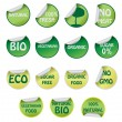 Stock Vector: Set of icons with text about natural products.