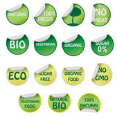 Set of icons with text about natural products. — Stock Vector