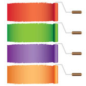Four rollers with paint. — Stock Vector