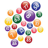Lottery balls with numbers. — Stock Vector