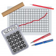 Calculator with writing success near chart with progress. — Stockvectorbeeld