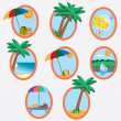 Icons with vacation theme. — Stock Vector