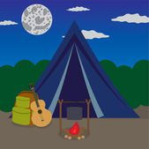 Night camping. — Stock Vector