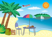 Vacation at the seashore. — Stock Vector
