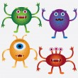Set of cartoon microbes. -  