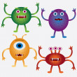 Set of cartoon microbes. - Stock Vector