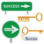 Set of success concept arts. — Stock Vector