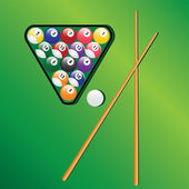 Billiard balls and cues for play game. — Stock Vector