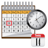 Calendar and clock. — Stock Vector
