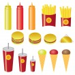 Set of fast food. — Stock Vector