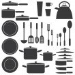 Kitchen utensils in white and black colours. — Vettoriale Stock #9576304