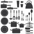 Kitchen utensils in white and black colours. — Stock Vector