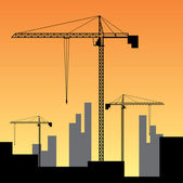 Construction site on sunset. — Stock Vector