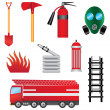 Set of fire prevention objects. — Stock Vector