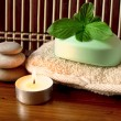 Spa candle, stones and mint soap — Stock Photo