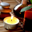 Stock Photo: Spcandle, massage stones and oils