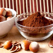 Royalty-Free Stock Photo: Cocoa powder and hazelnuts