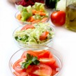 Bowls with vegetables salads — Stock Photo