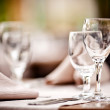Empty glasses set in restaurant — Stock Photo #10702182