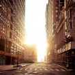 Absolutely empty street in New York early morning - Stock Photo